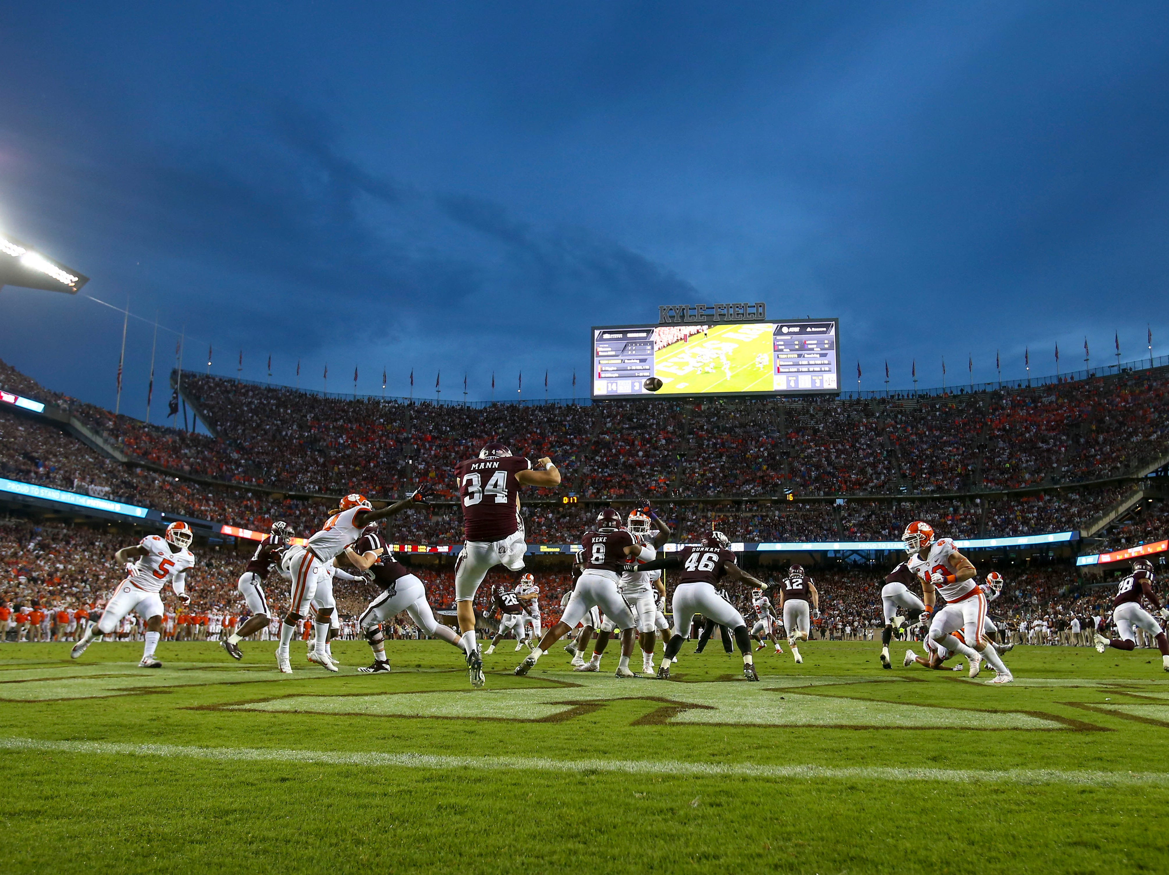Texas A&M Aggies punter Braden Mann (34) punts the ball during the second quarter against the Clemson Tigers at Kyle Field.