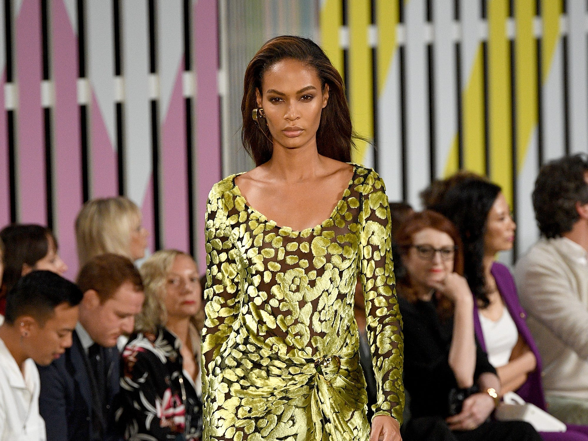 NEW YORK, NY - SEPTEMBER 09:  Joan Smalls walks the runway at the Escada show during New York Fashion Week on September 9, 2018 in New York City.  (Photo by Slaven Vlasic/Getty Images) ORG XMIT: 775216380 ORIG FILE ID: 1029929348