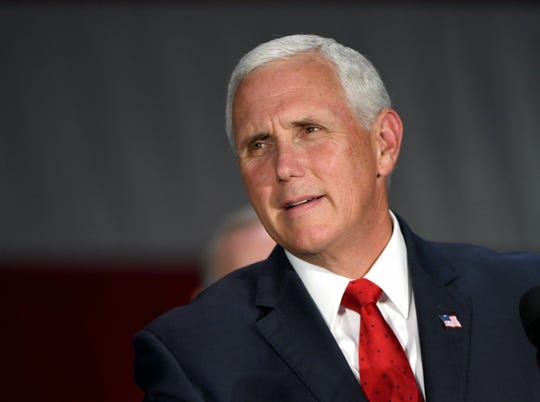 Vice President Mike Pence speaks at Nellis Air Force Base on Sept. 7, 2018, in Las Vegas.