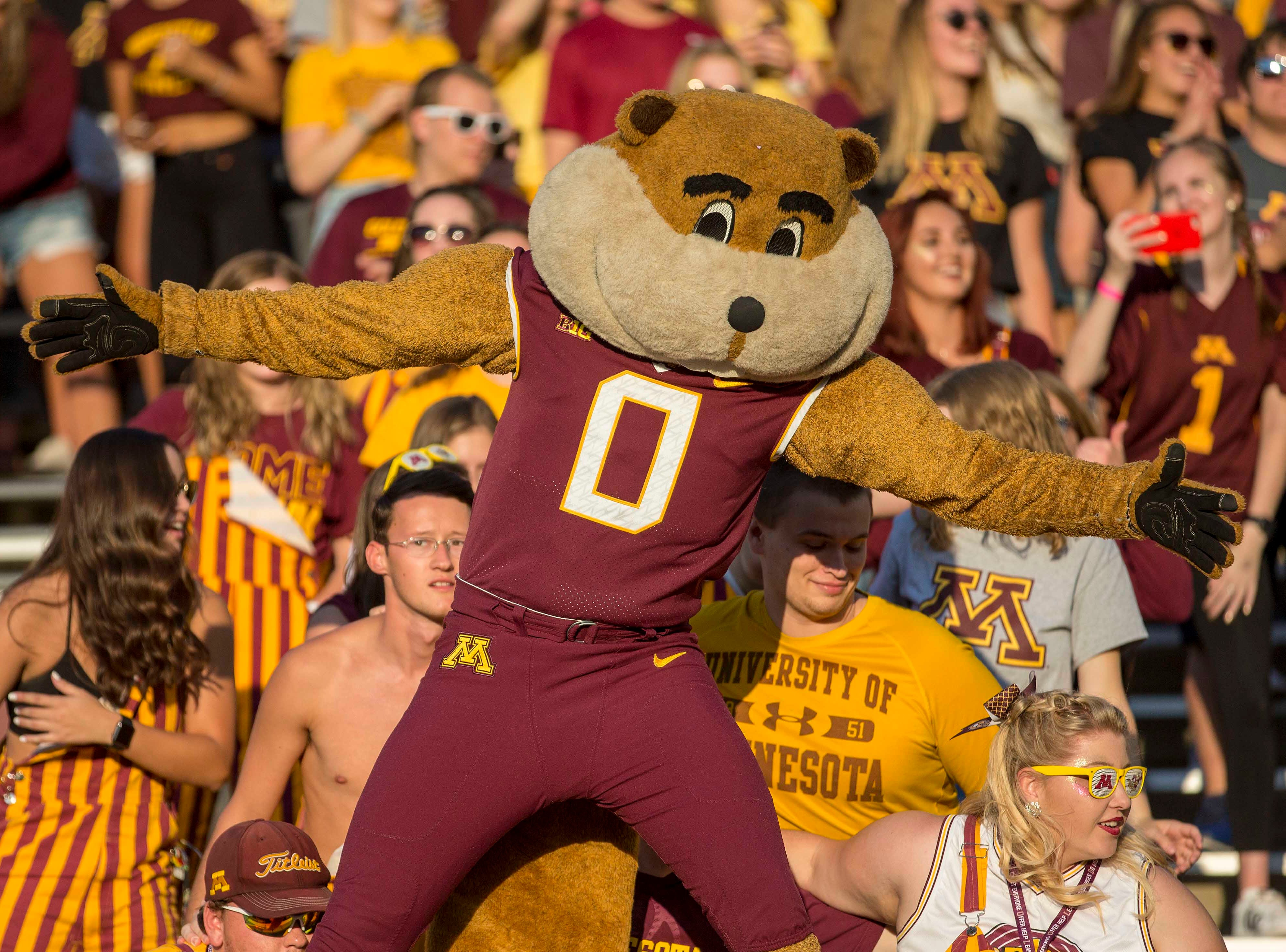Week 2: Minnesota Golden Gophers mascot Goldy pumps up the crowd right before kickoff against Fresno State Bulldogs at TCF Bank Stadium.