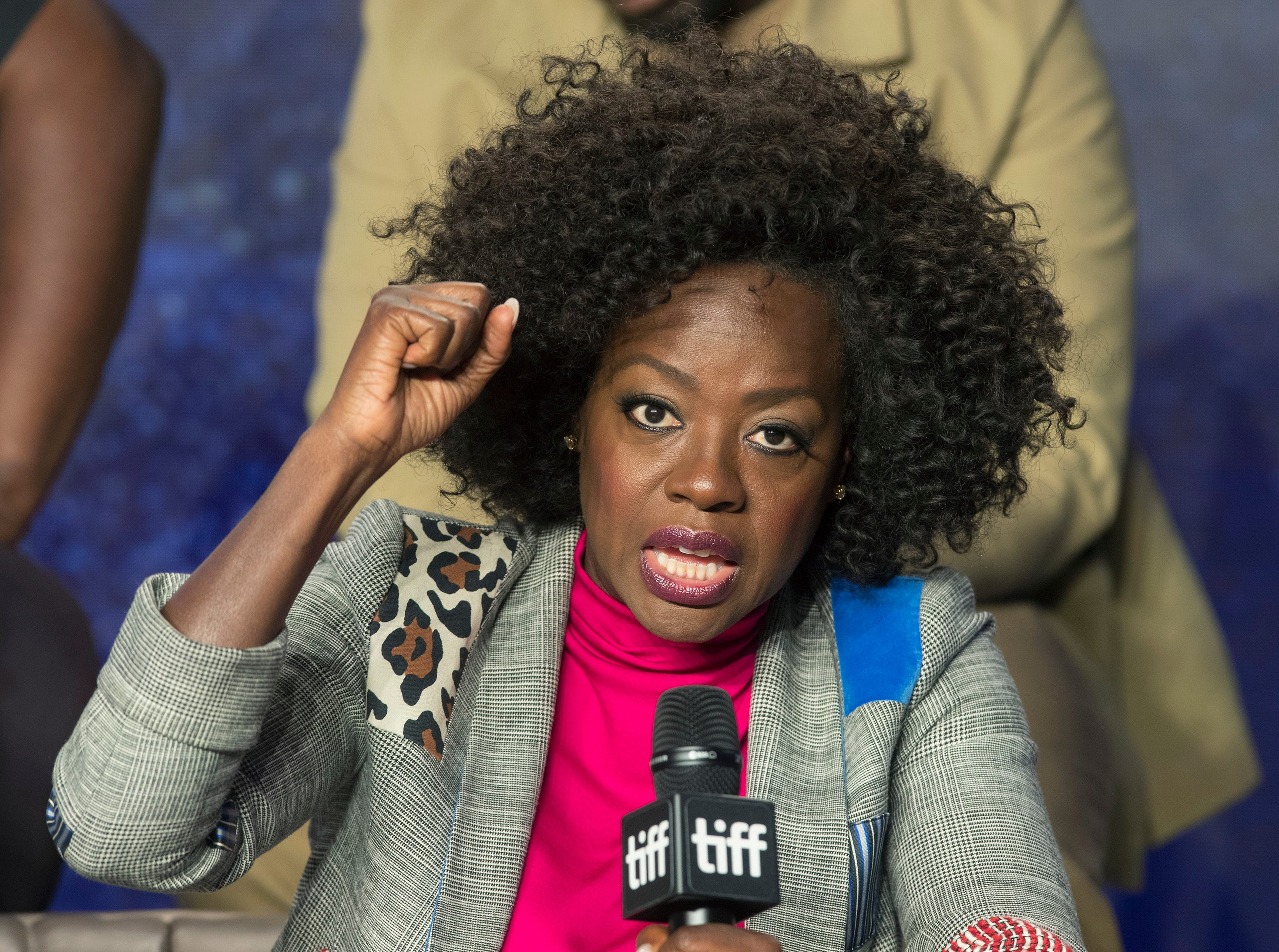 "Actor Viola Davis attends a press conference to promote the movie ""Widows"" during the 2018 Toronto International Film Festival in Toronto on Sunday, Sept. 9, 2018. (Fred Thornhill /The Canadian Press via AP) ORG XMIT: FJT13"