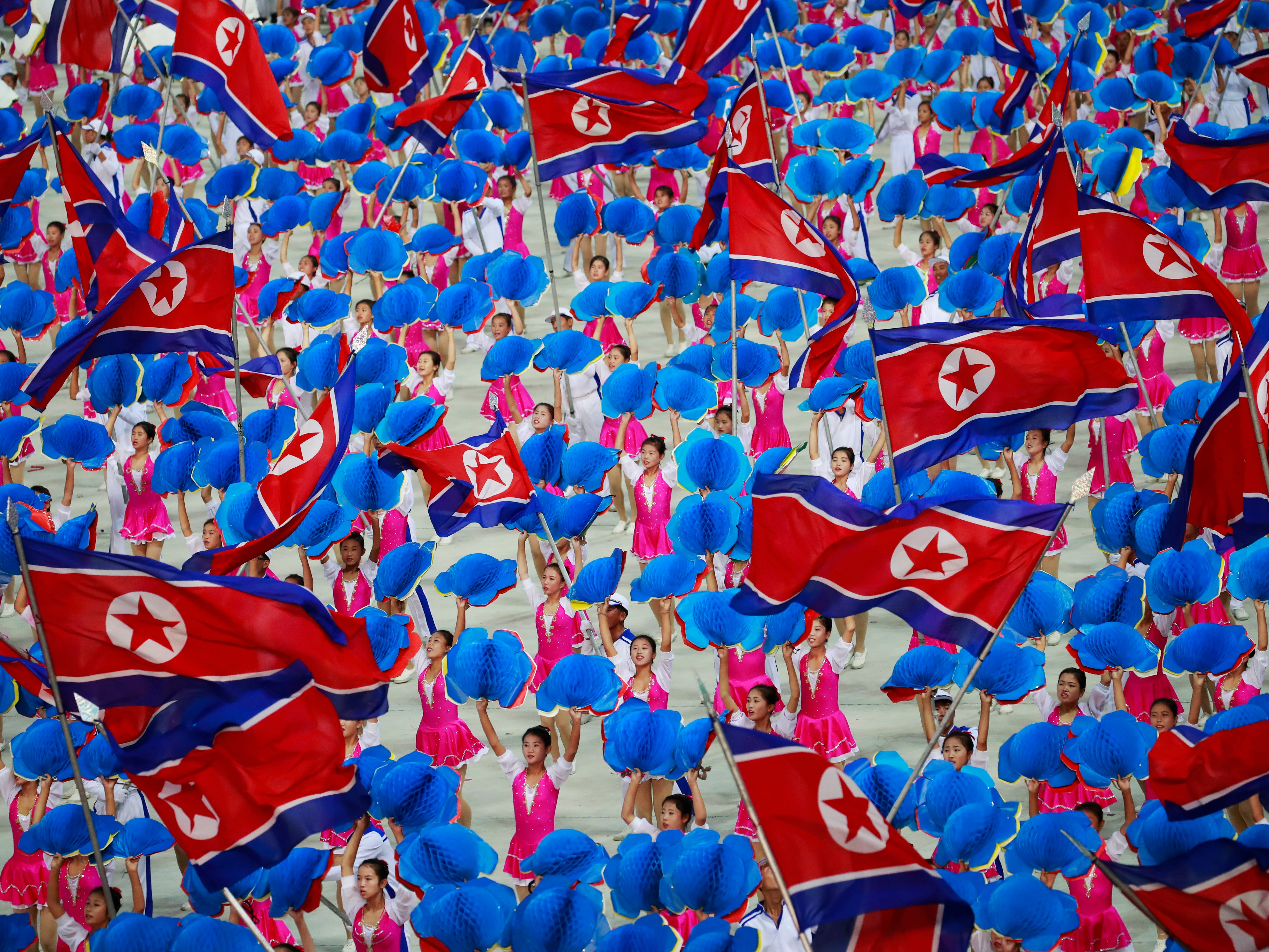 North Korean dancers perform in the Arirang Mass games celebrating the National Day and 70th anniversary of its Foundation in Pyongyang, North Korea on Sept. 9, 2018.