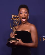 "Samira Wiley of ""The Handmaid's Tale"" accepted guest acting honors in the drama series categories at the Creative Arts Emmy Awards."