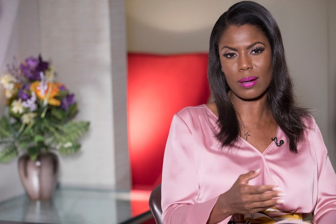 Former White House staffer Omarosa Manigault Newman speaks during an interview with The Associated Press Aug. 14, 2018, in New York.