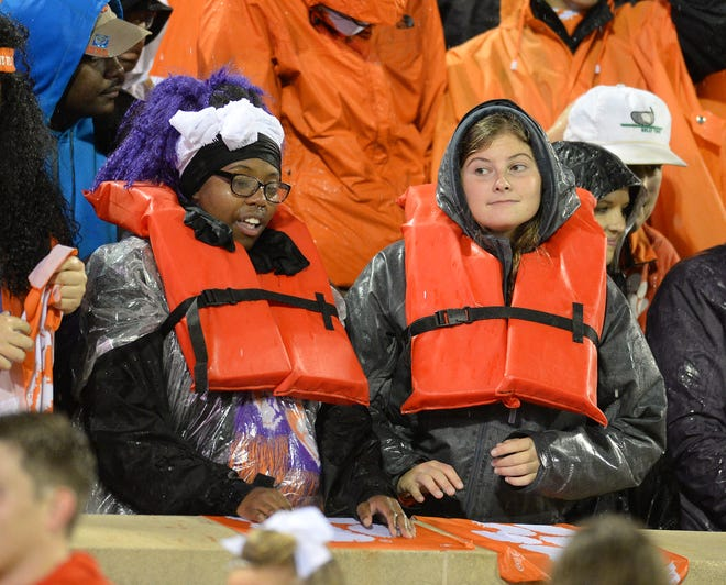 Fans soak in the atmosphere at Memorial Stadium in 2015, when Clemson played Notre Dame in a deluge caused by Hurricane Joaquin.