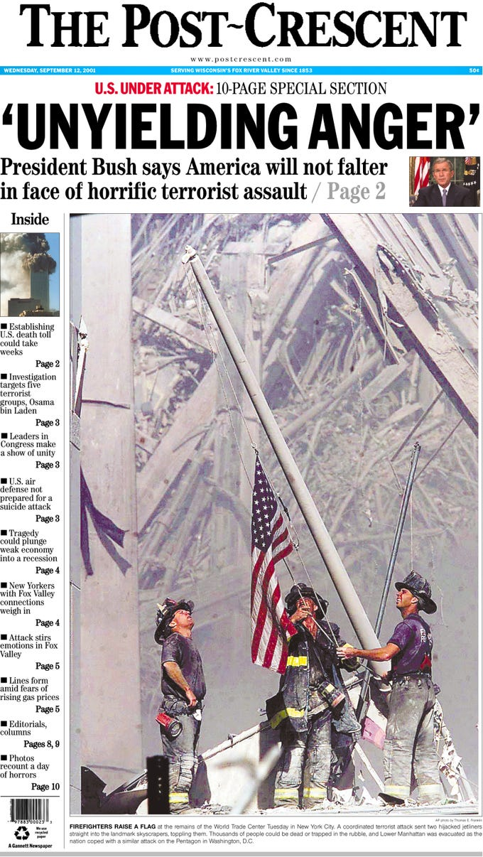 Front page of The Post-Crescent on Sept. 12, 2001