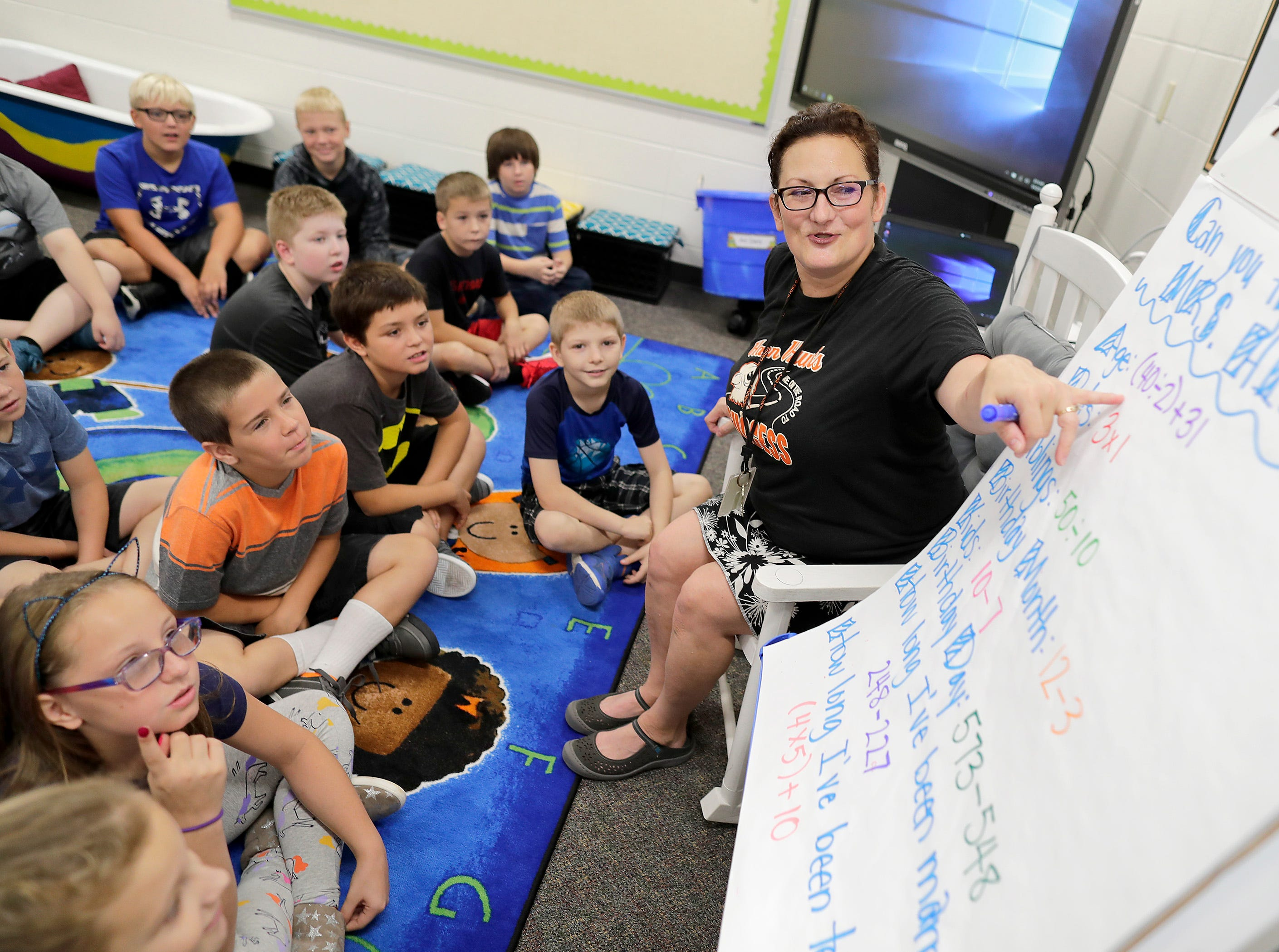Fourth grade teacher Lisa Hietpas welcomes students to class on the first day of school at Victor Haen Elementary on Tuesday, September 4, 2018, in Kaukauna, Wis. 
