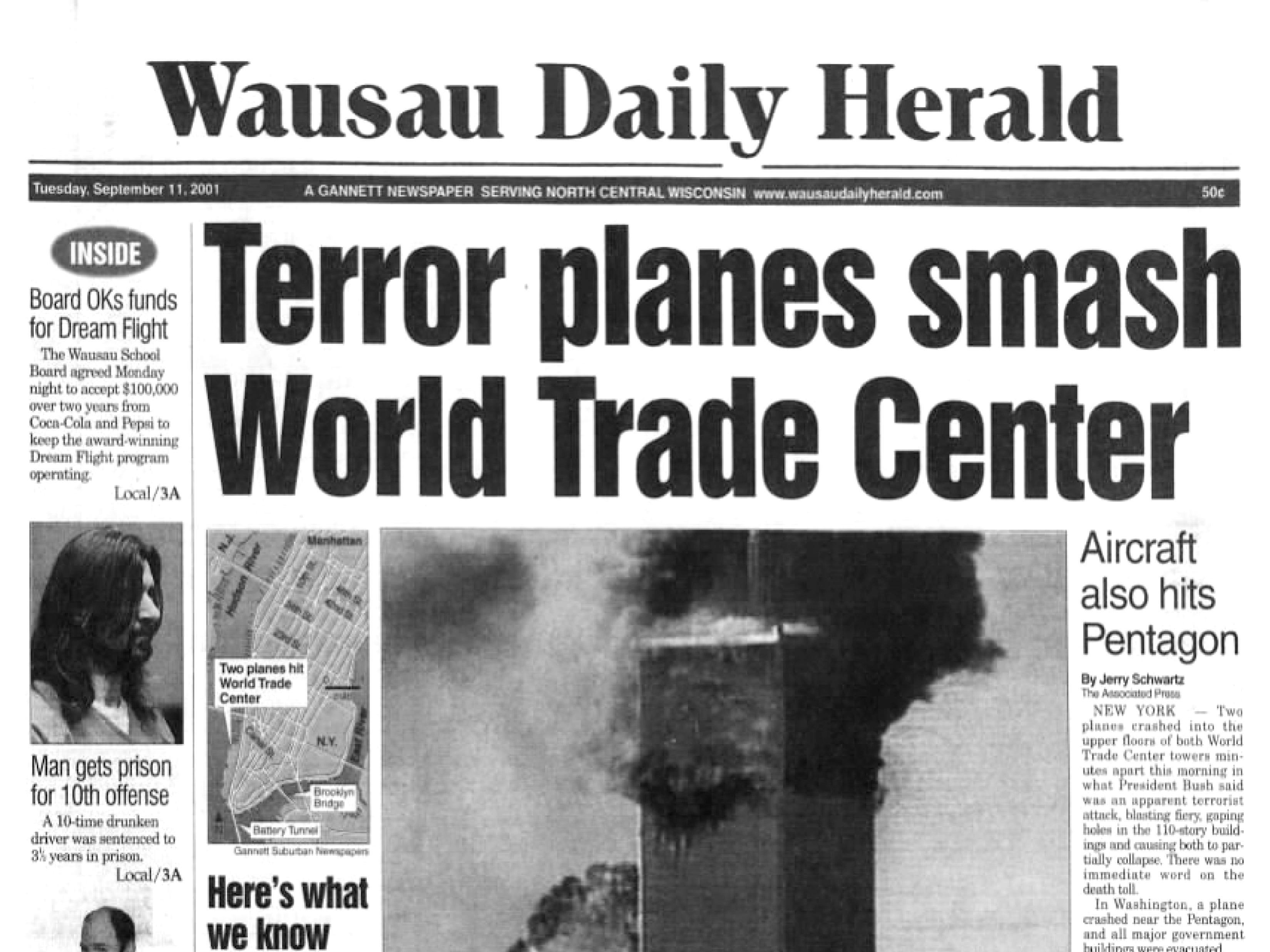 Front page of The Wausau Daily Herald on Sept. 12, 2001