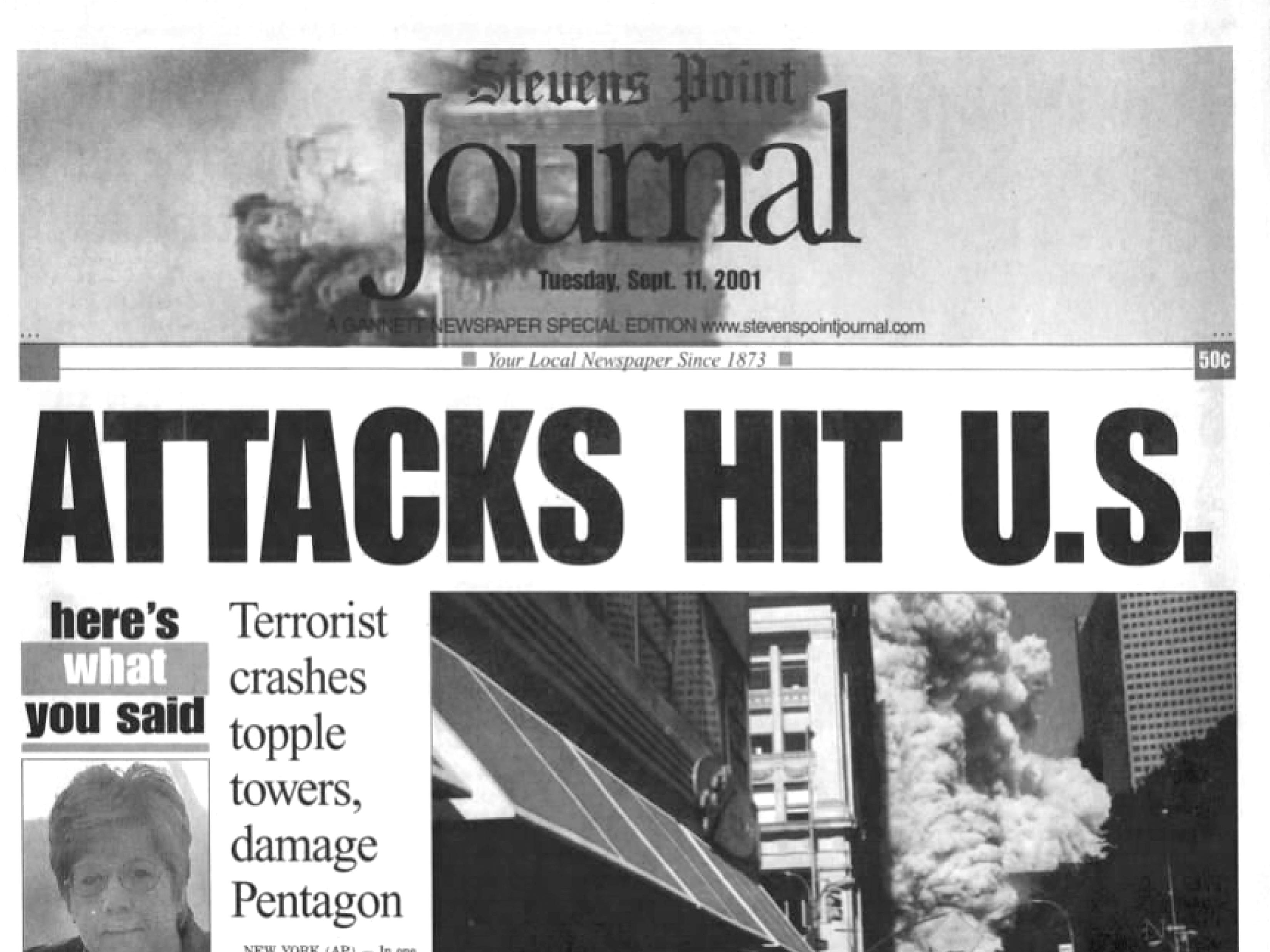 Front page of The Stevens Point Journal on Sept. 12, 2001