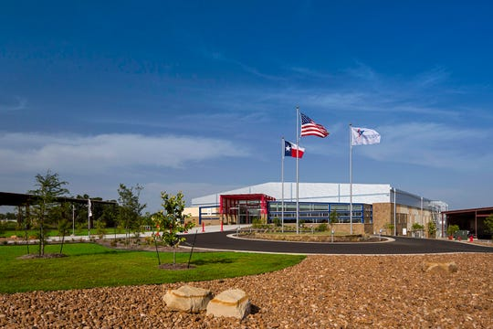 The Round Rock Sports Center exterior in Round Rock, Texas opened in 2014.