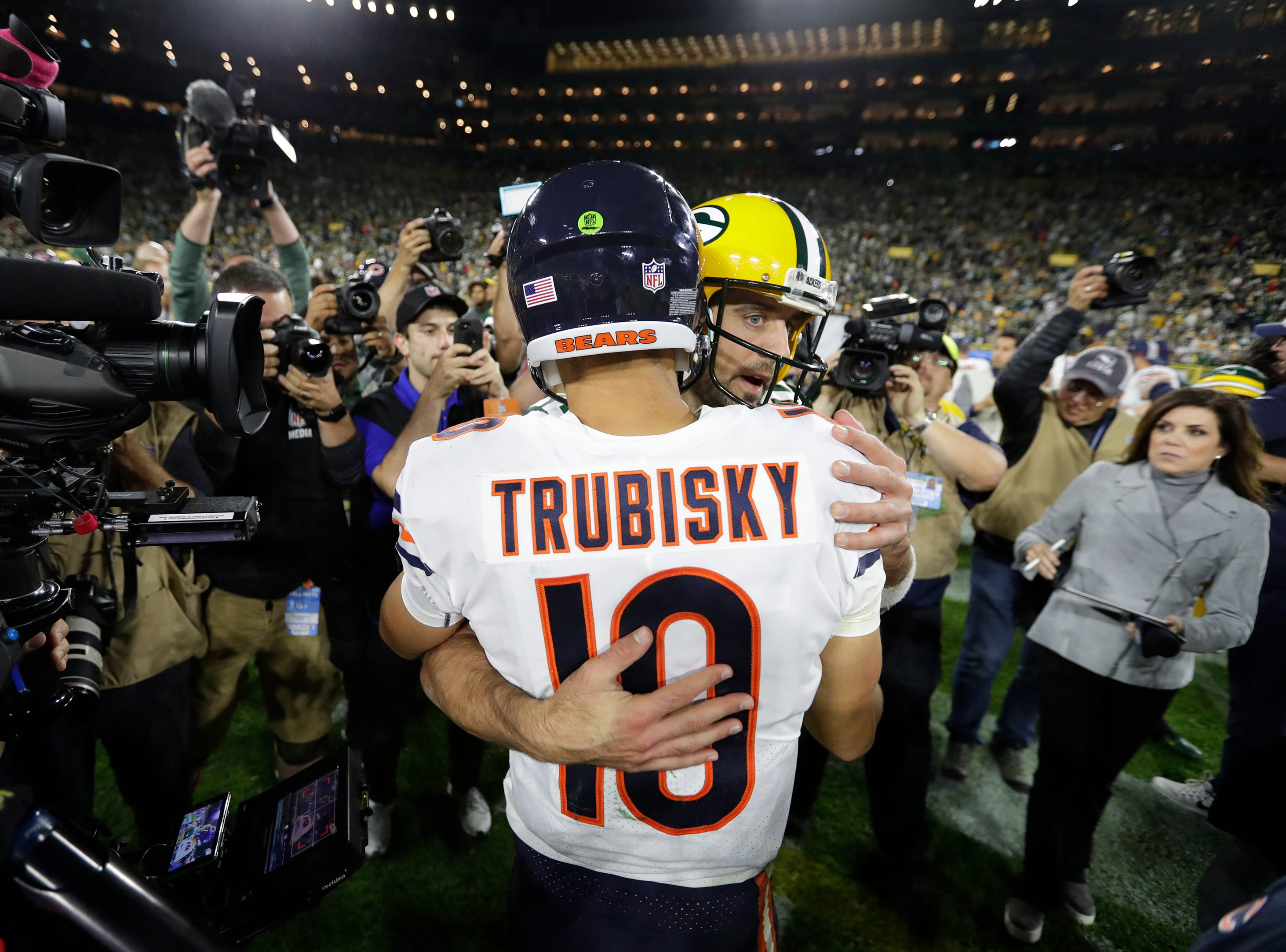 Green Bay Packers quarterback Aaron Rodgers (12) and Chicago Bears quarterback Mitchell Trubisky (10) embrace after the game Sunday, Sept. 9, 2018, at Lambeau Field in Green Bay, Wis. 