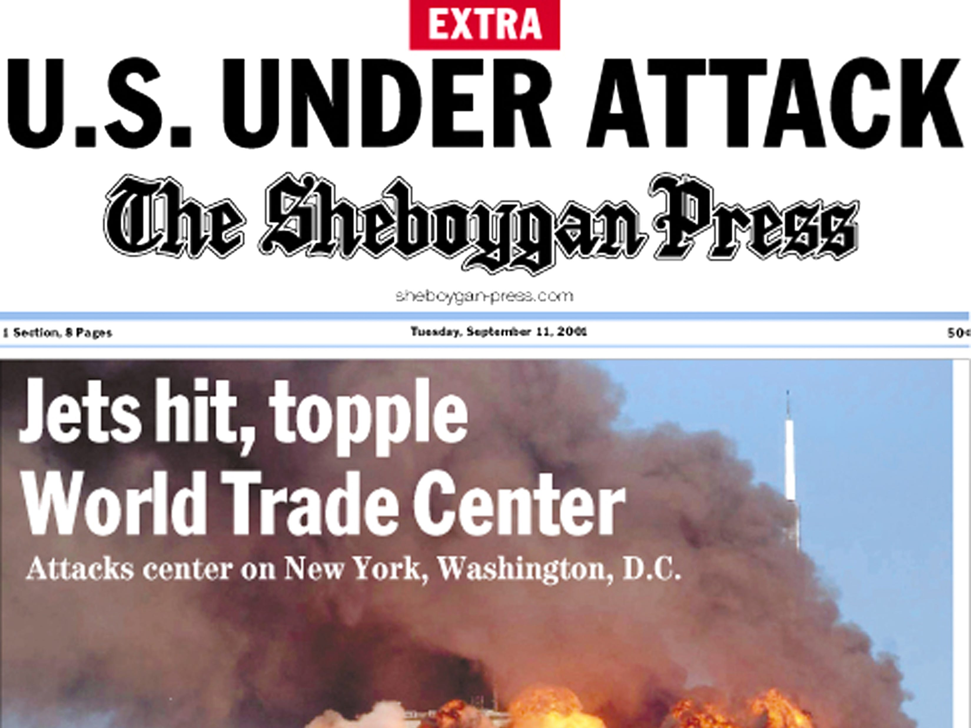 Front page of The Sheboygan Press on Sept. 12, 2001