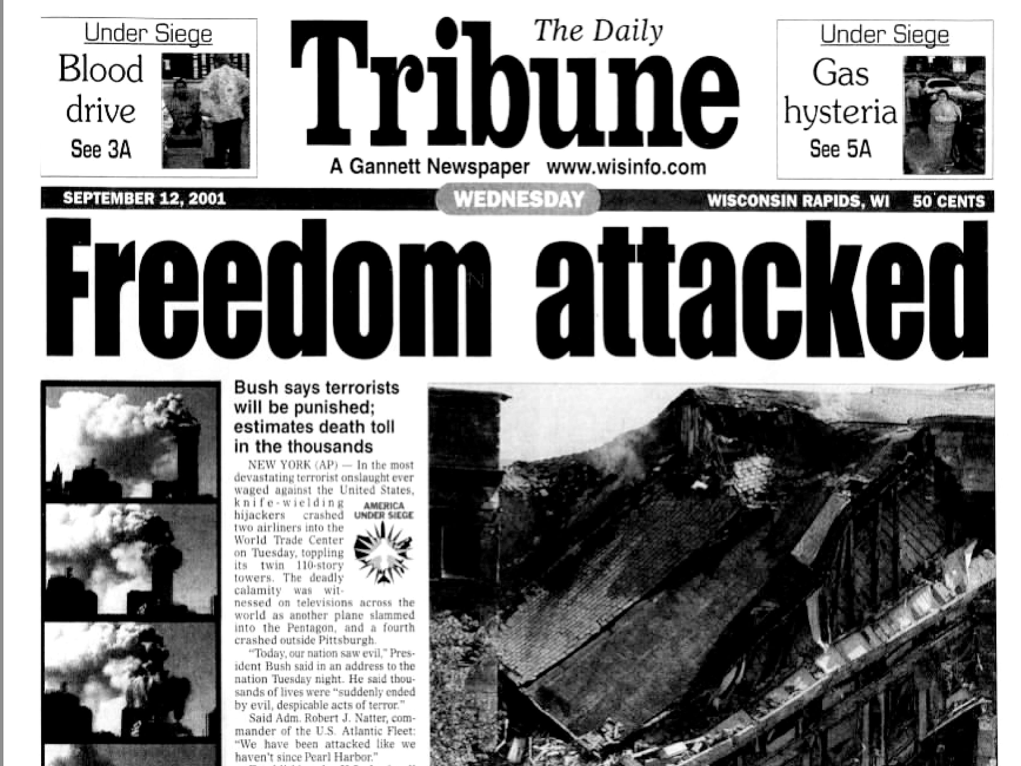 Front page of The Daily Tribune on Sept. 12, 2001