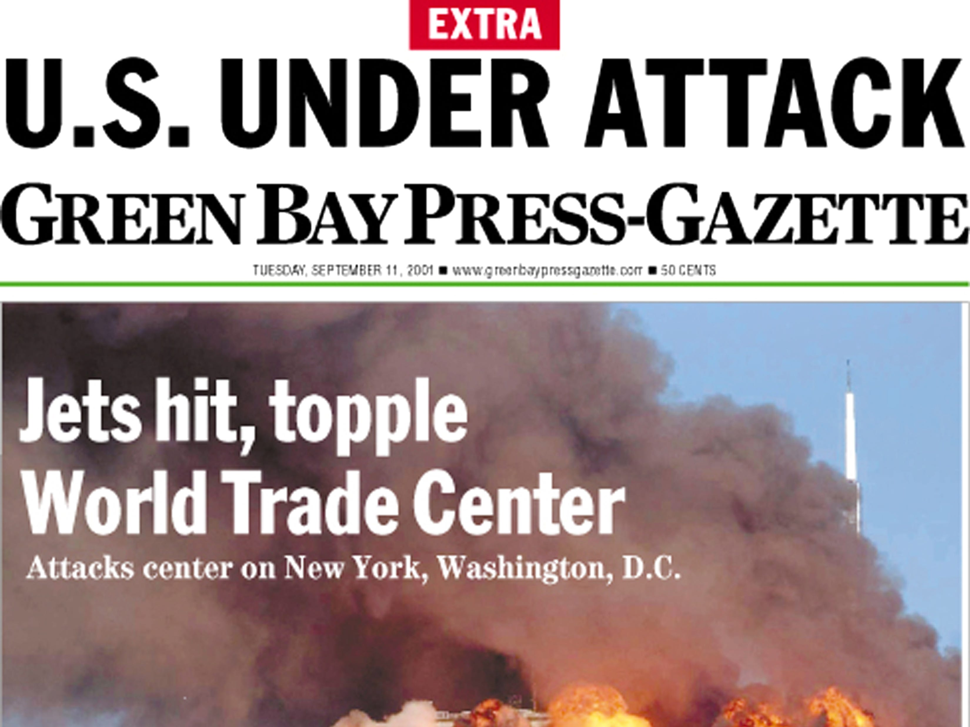 Front page of The Green Bay Press-Gazette on Sept. 12, 2001