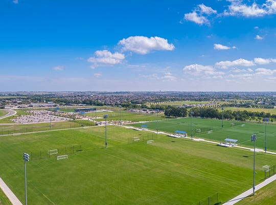 A view of the fields at the Round Rock Sports Center fields in Round Rock, Texas.