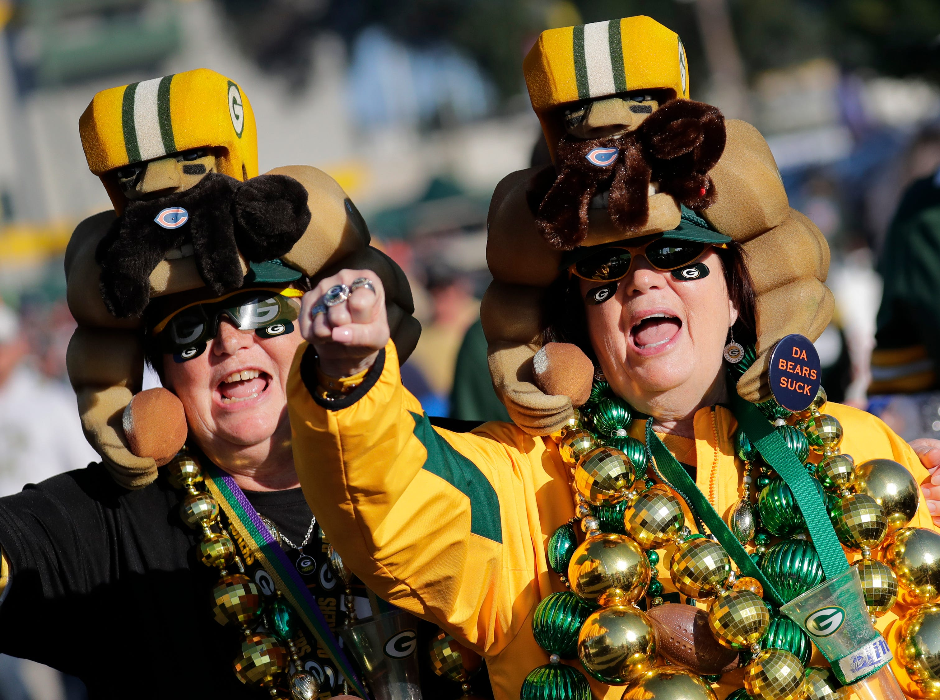 "Chris Schuelke, left, and her sister Jane Thiel, both of Dale, cheer ""Go Pack Go!"", prior to the Green Bay Packers playing against the Chicago Bears Sunday, Sept. 9, 2018, at Lambeau Field in Green Bay, Wis. 