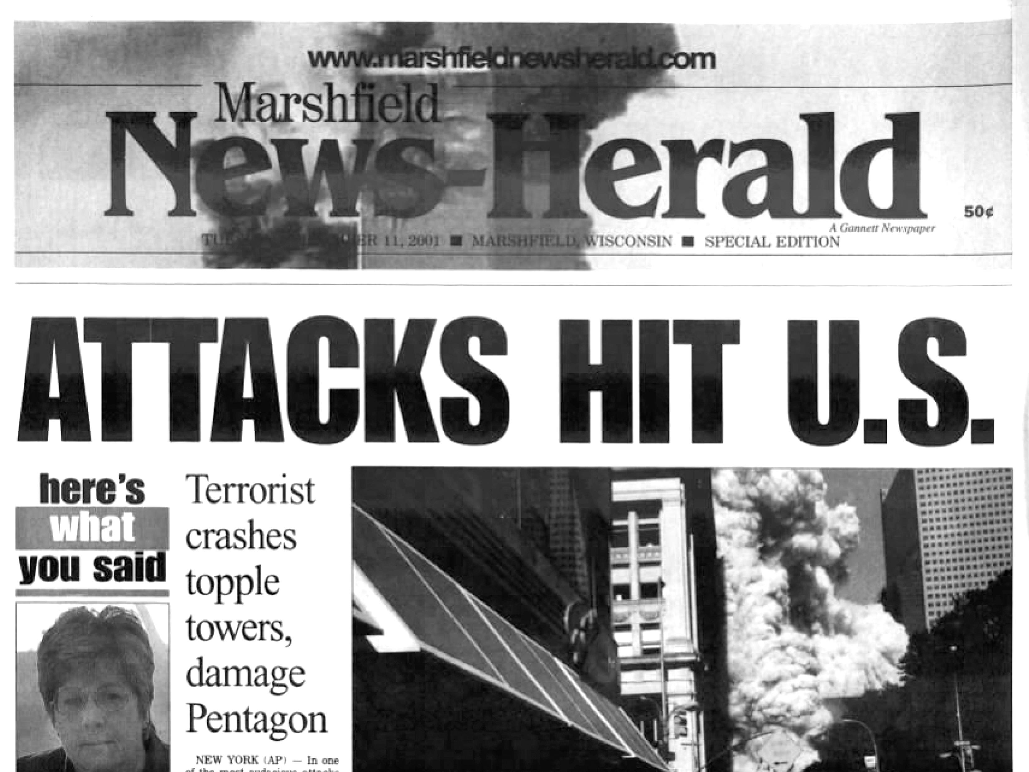Front page of The Marshfield News-Herald on Sept. 12, 2001