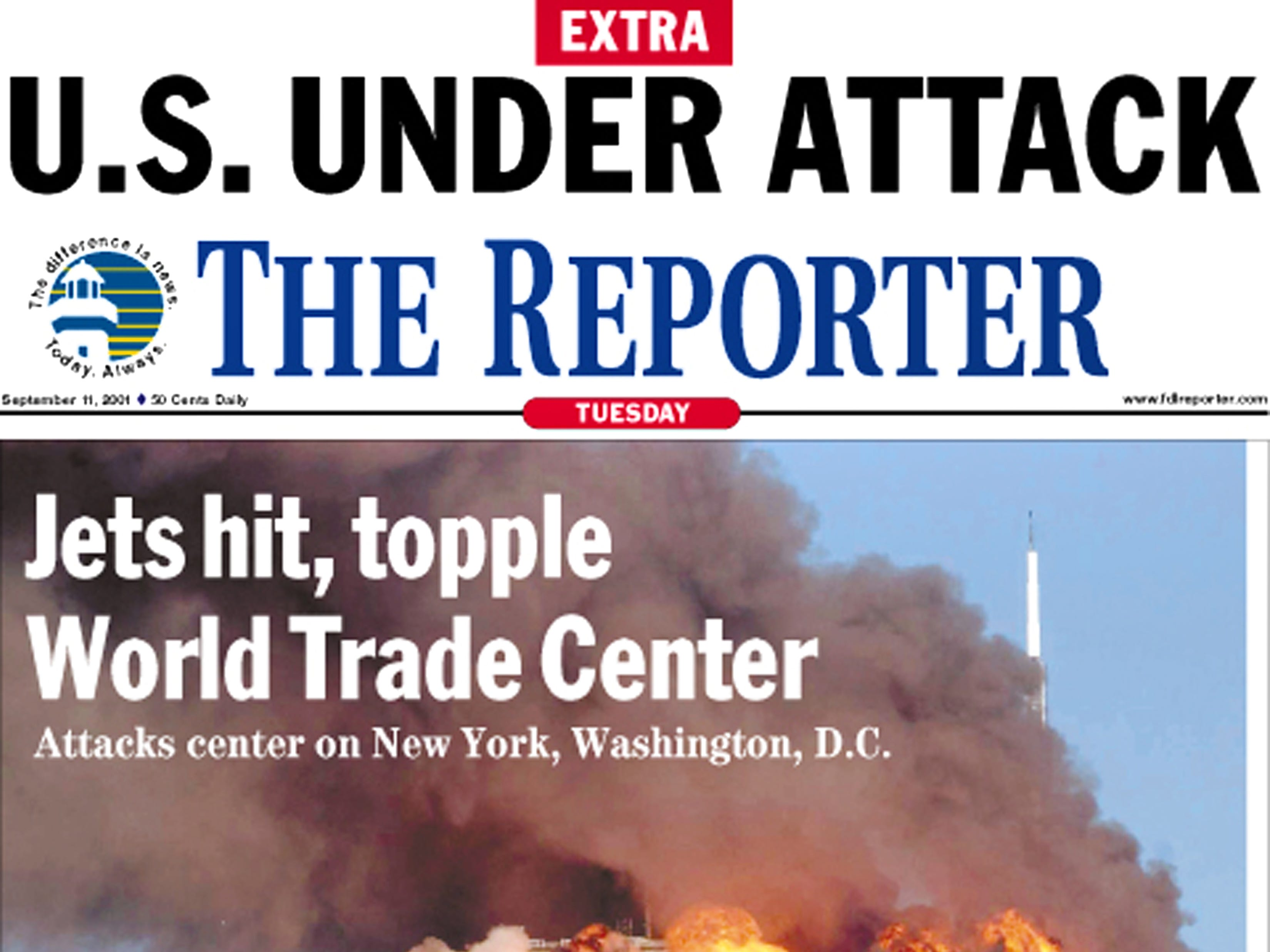 Front page of The Reporter on Sept. 12, 2001
