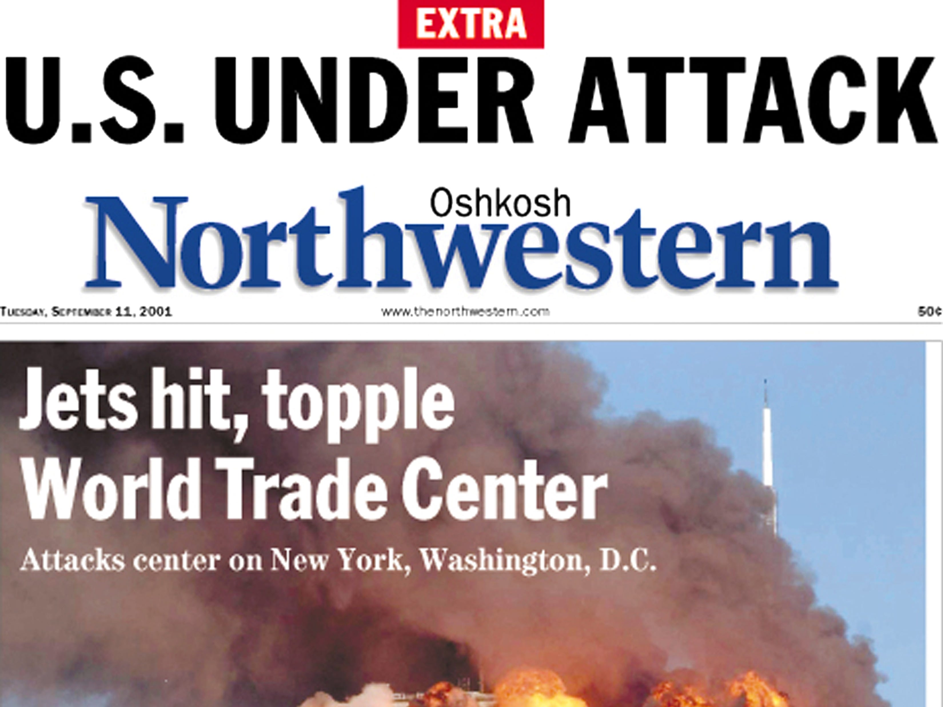 Front page of The Oshkosh Northwestern on Sept. 12, 2001
