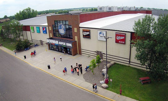 This is the exterior of the Schwan Super Rink at the National Sports Center in Blaine, Minnesota.