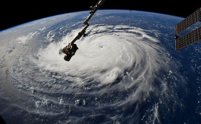 Hurricane Florence, as seen from the International Space Station on Monday morning.