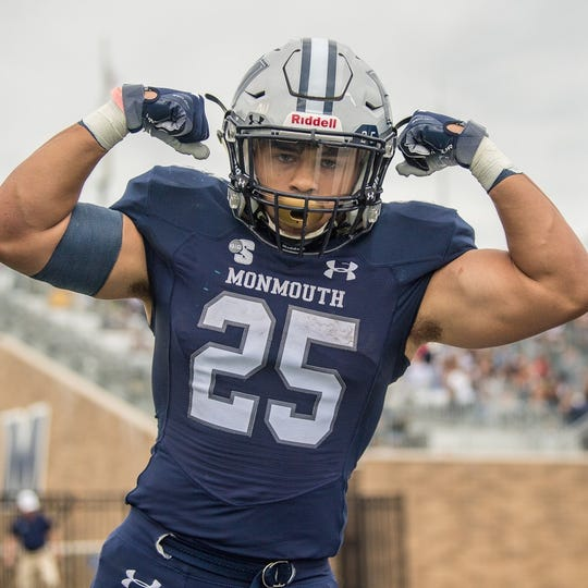 Monmouth running back Pete Guerriero rushed for 209 yards and three touchdowns in Saturday's 56-28 win over Hampton at Kessler Stadium.