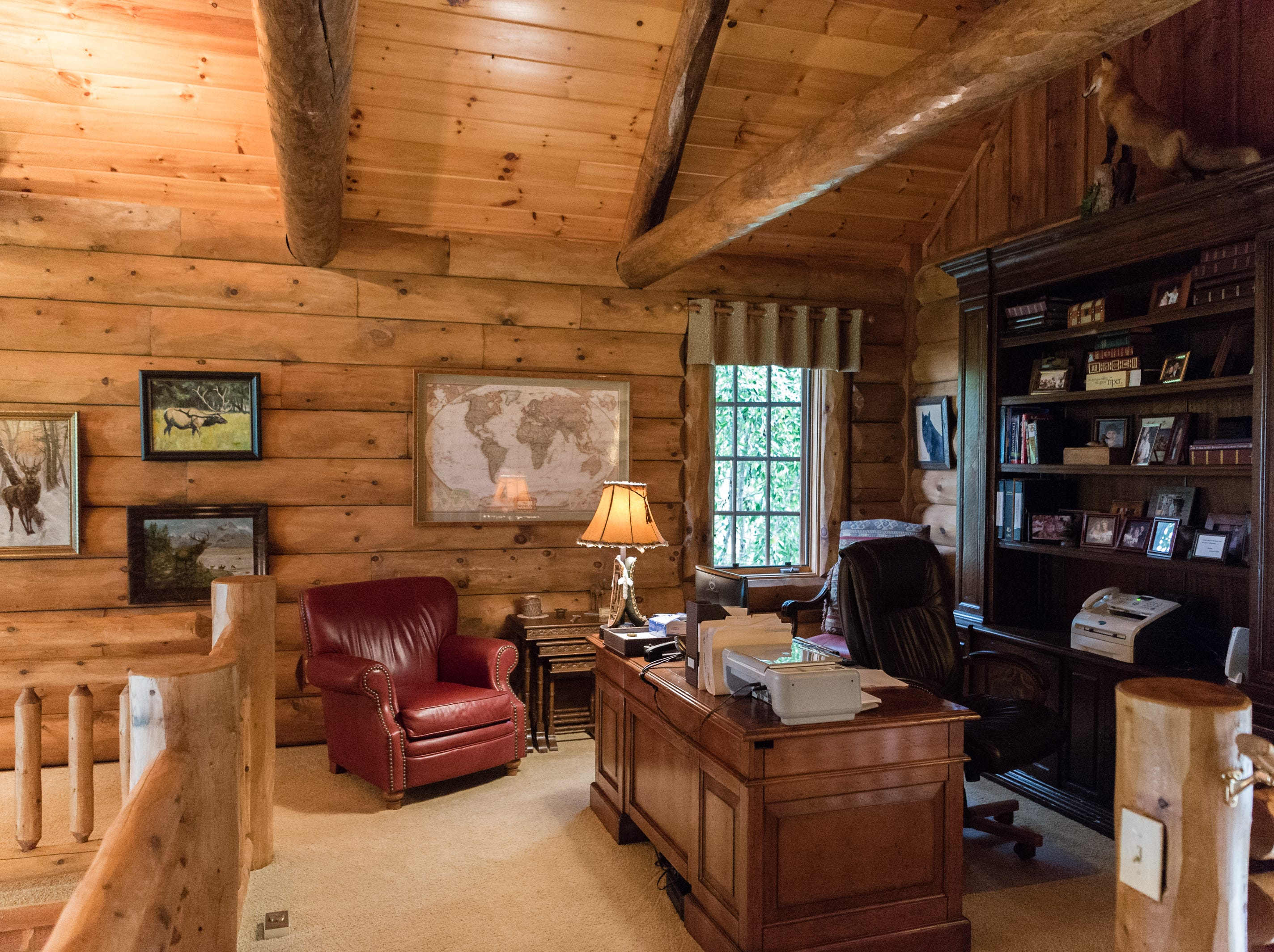 An office area in Dan and Belle Fangmeyer's log cabin in Waynesville.