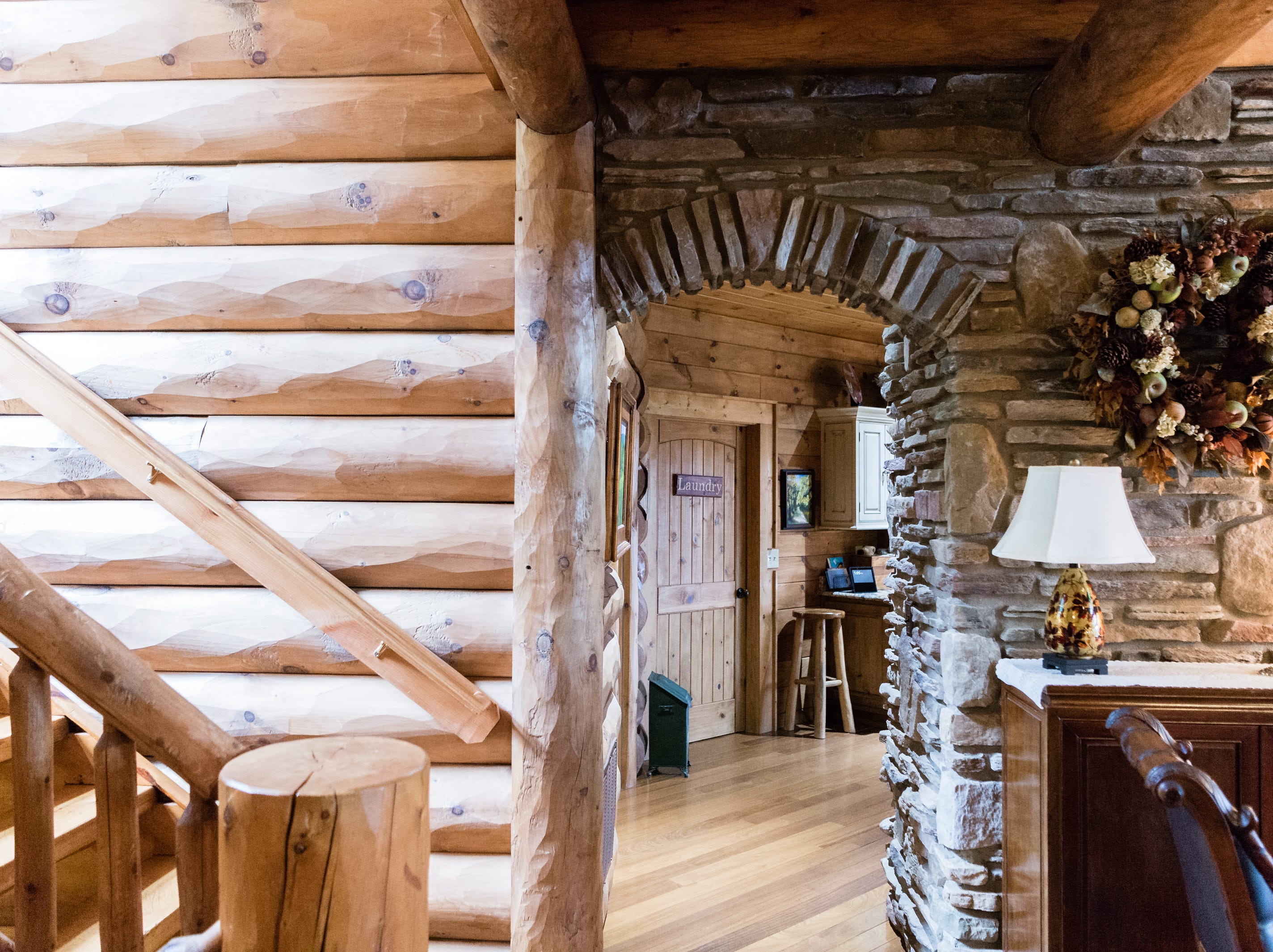 An archway leading to the kitchen of Dan and Belle Fangmeyer's log cabin in Waynesville.