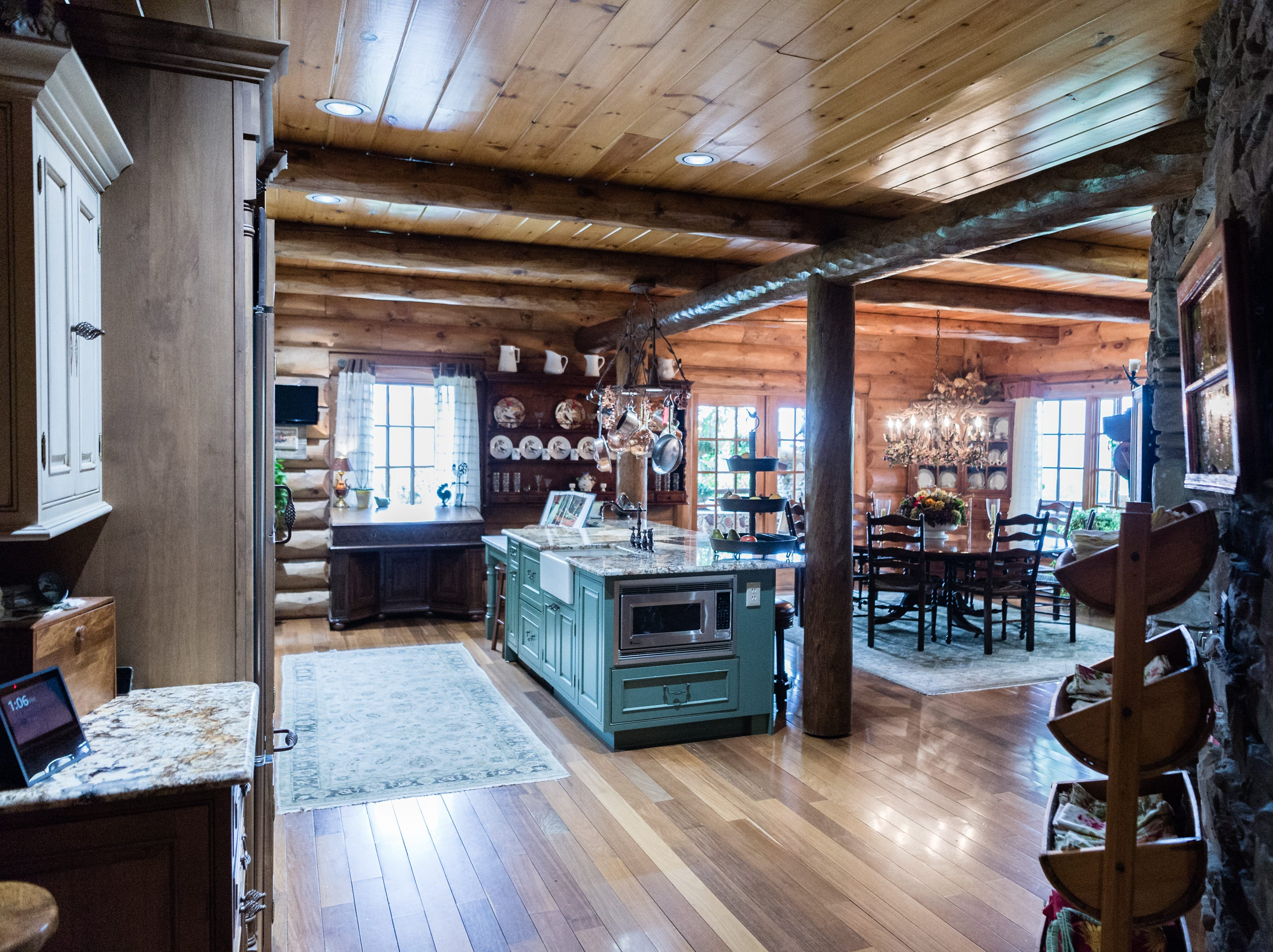 The kitchen of Dan and Belle Fangmeyer's log cabin in Waynesville.