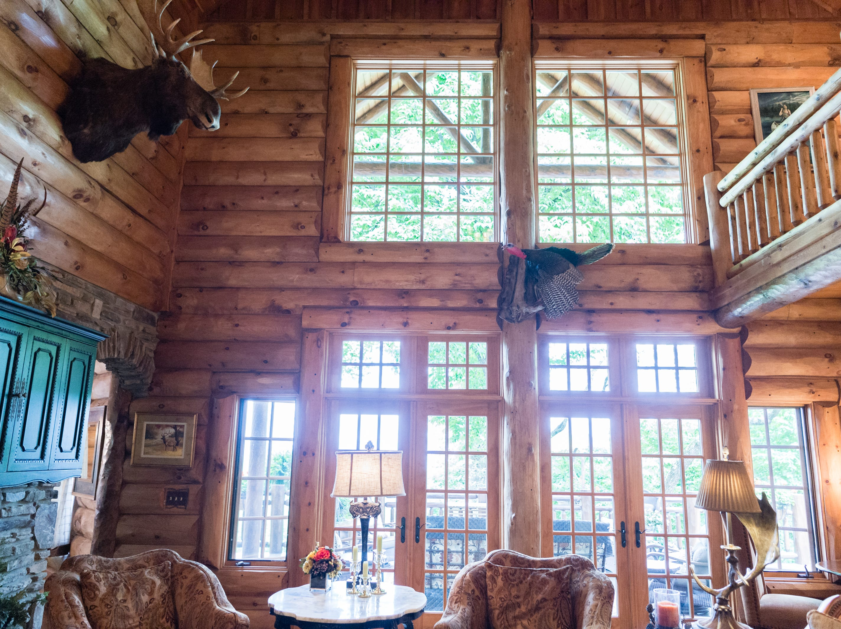 The main great room of Dan and Belle Fangmeyer's log cabin in Waynesville.