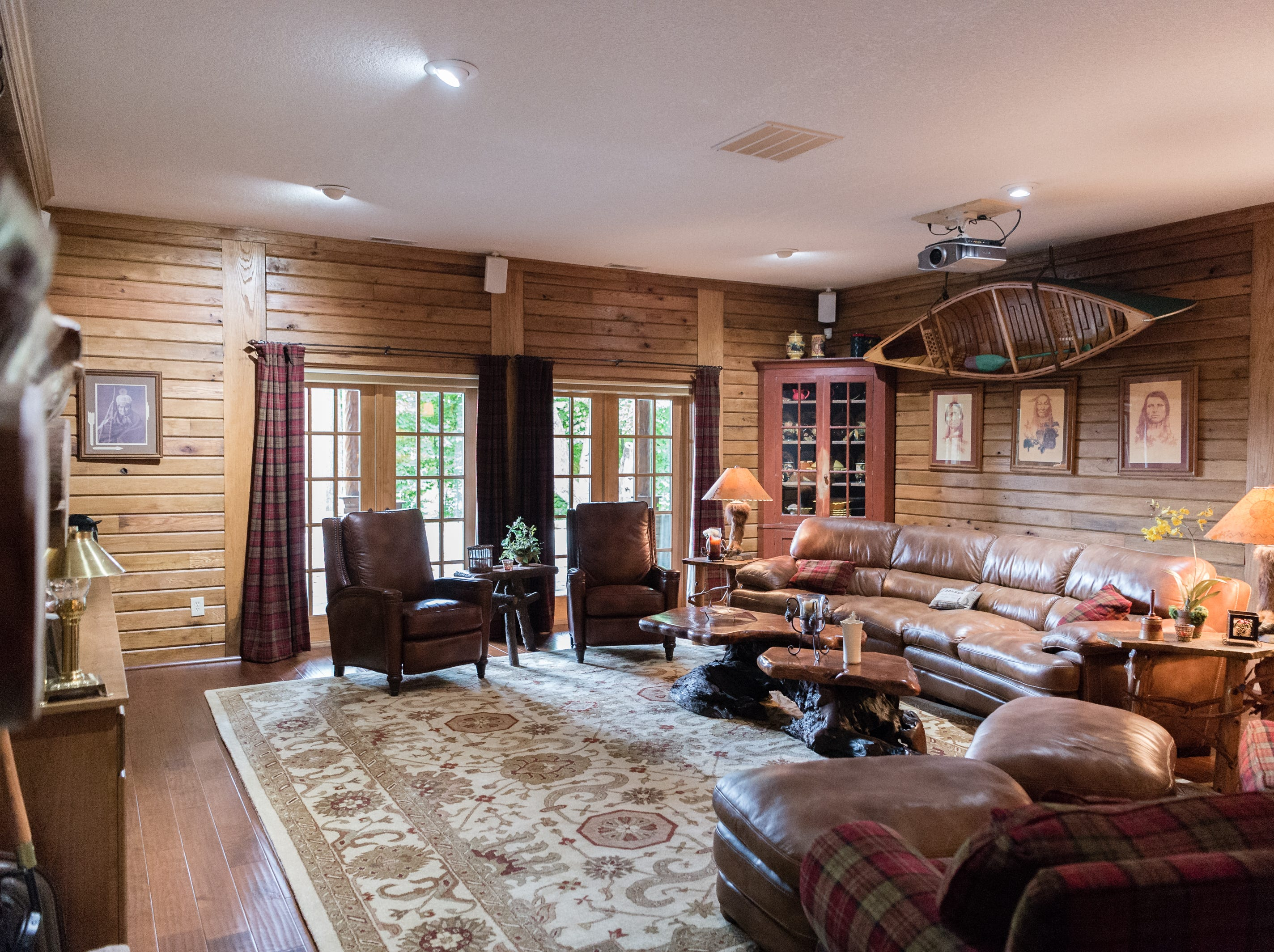 A room on the basement level of Dan and Belle Fangmeyer's log cabin in Waynesville.