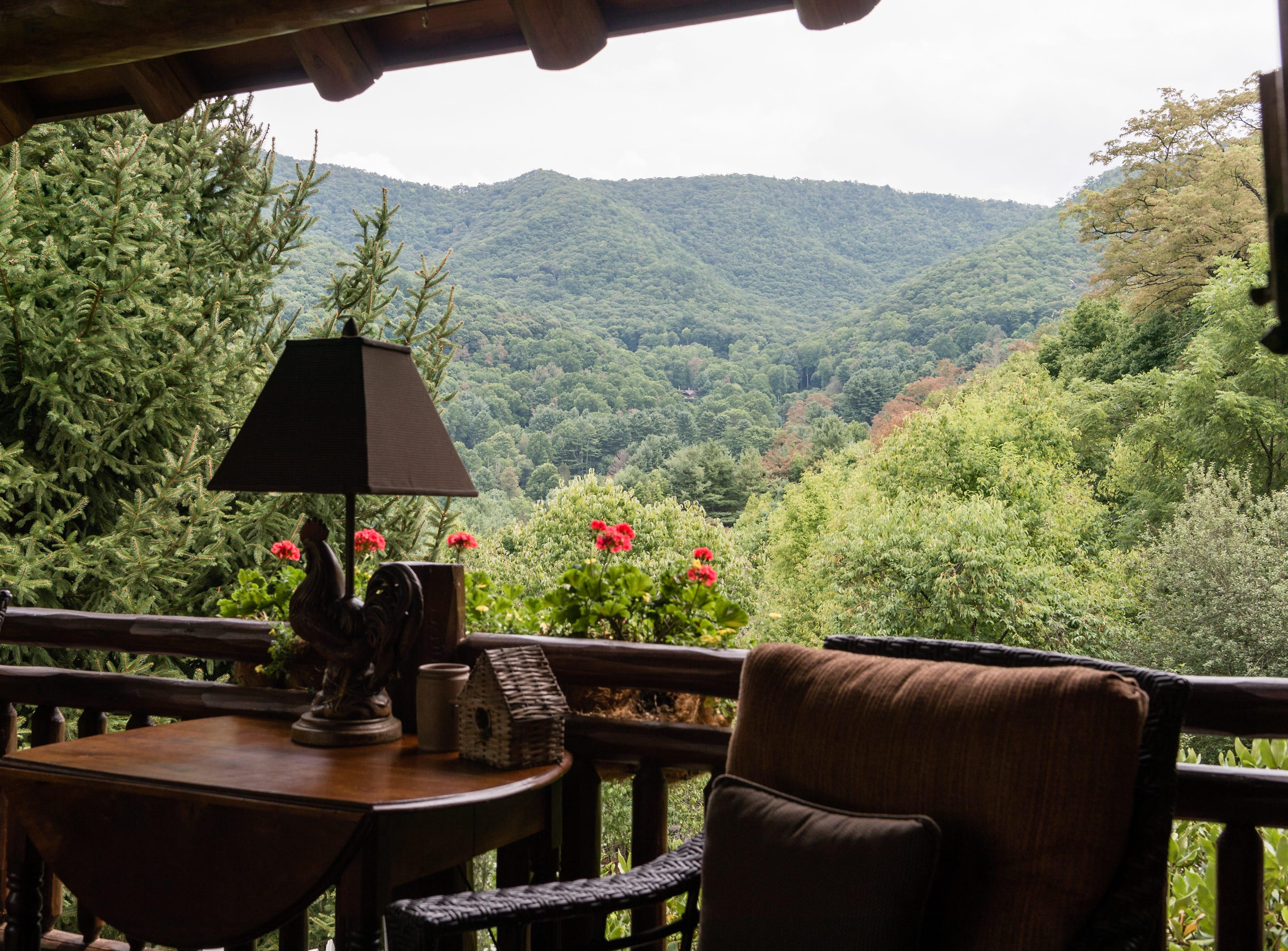 The view from a side porch of Dan and Belle Fangmeyer's log cabin in Waynesville.