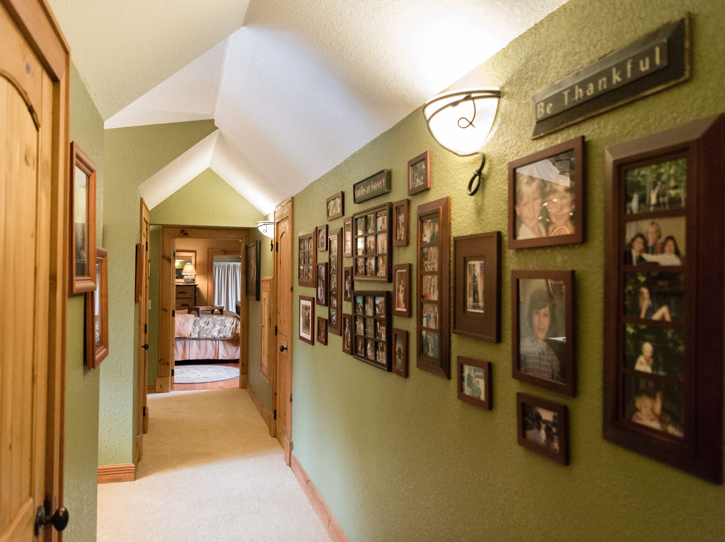 A hallway on the third floor of Dan and Belle Fangmeyer's log cabin in Waynesville.