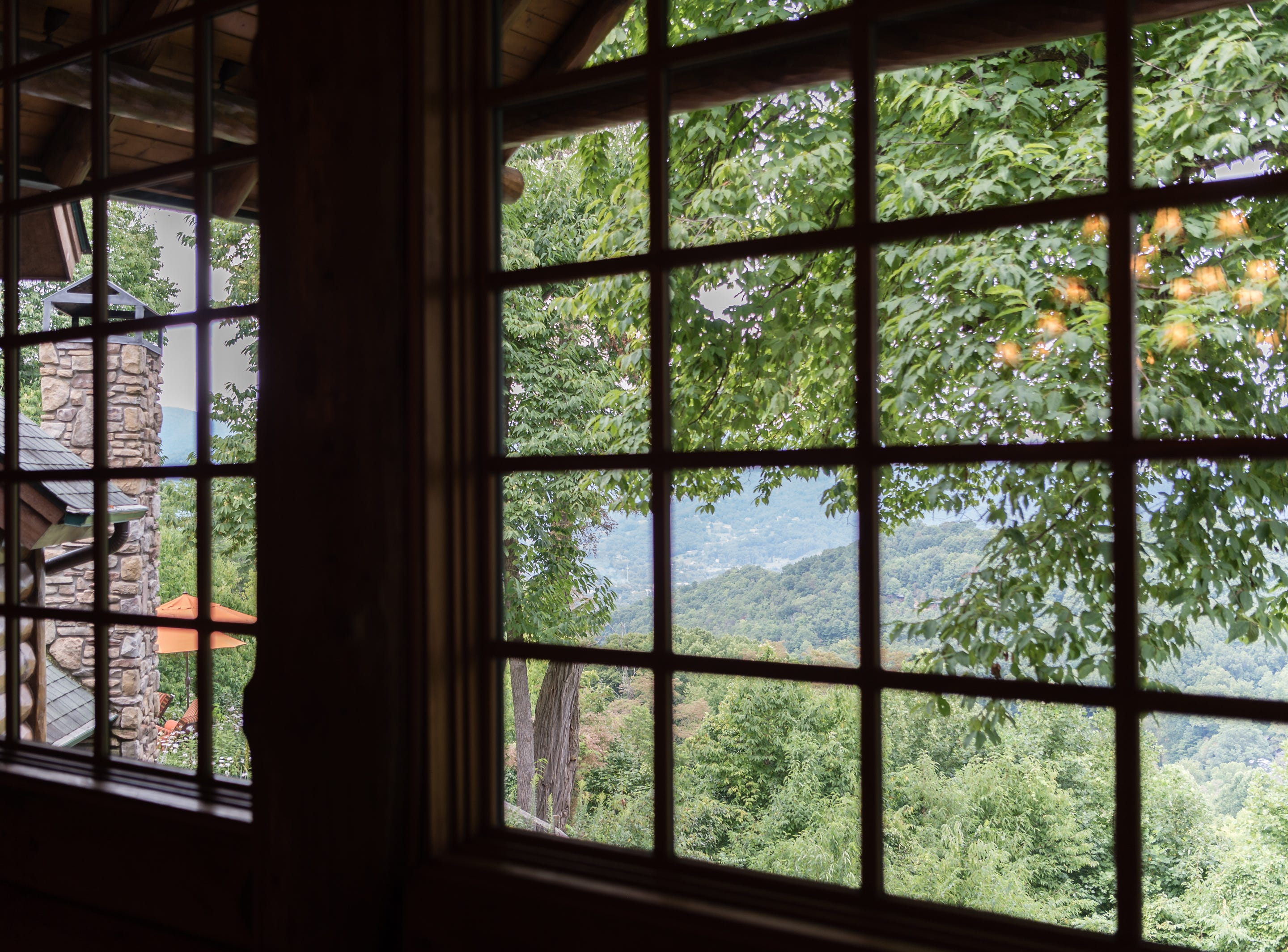 The view from the third floor of Dan and Belle Fangmeyer's log cabin in Waynesville.