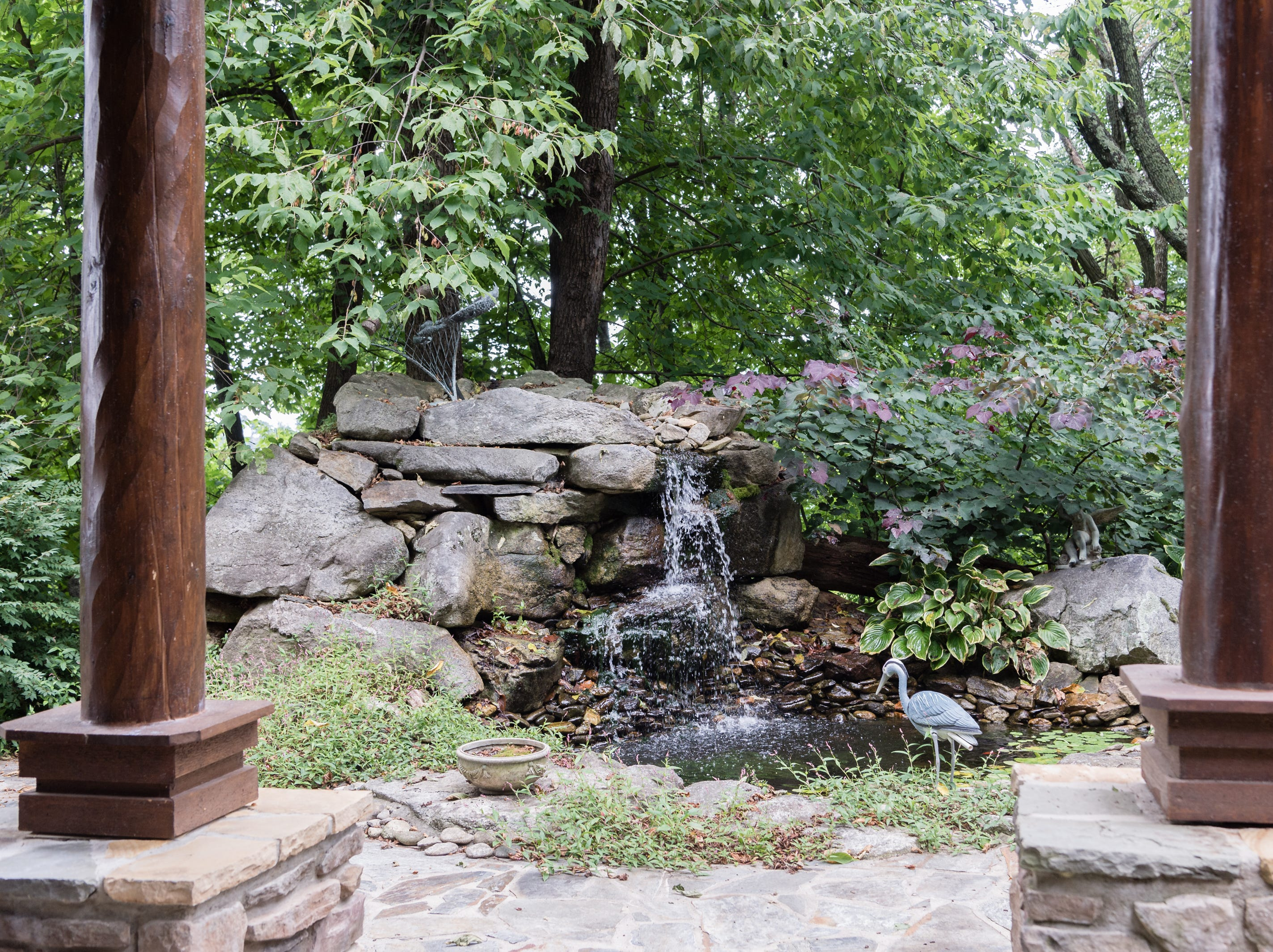 A water feature on the property of Dan and Belle Fangmeyer's log cabin in Waynesville.