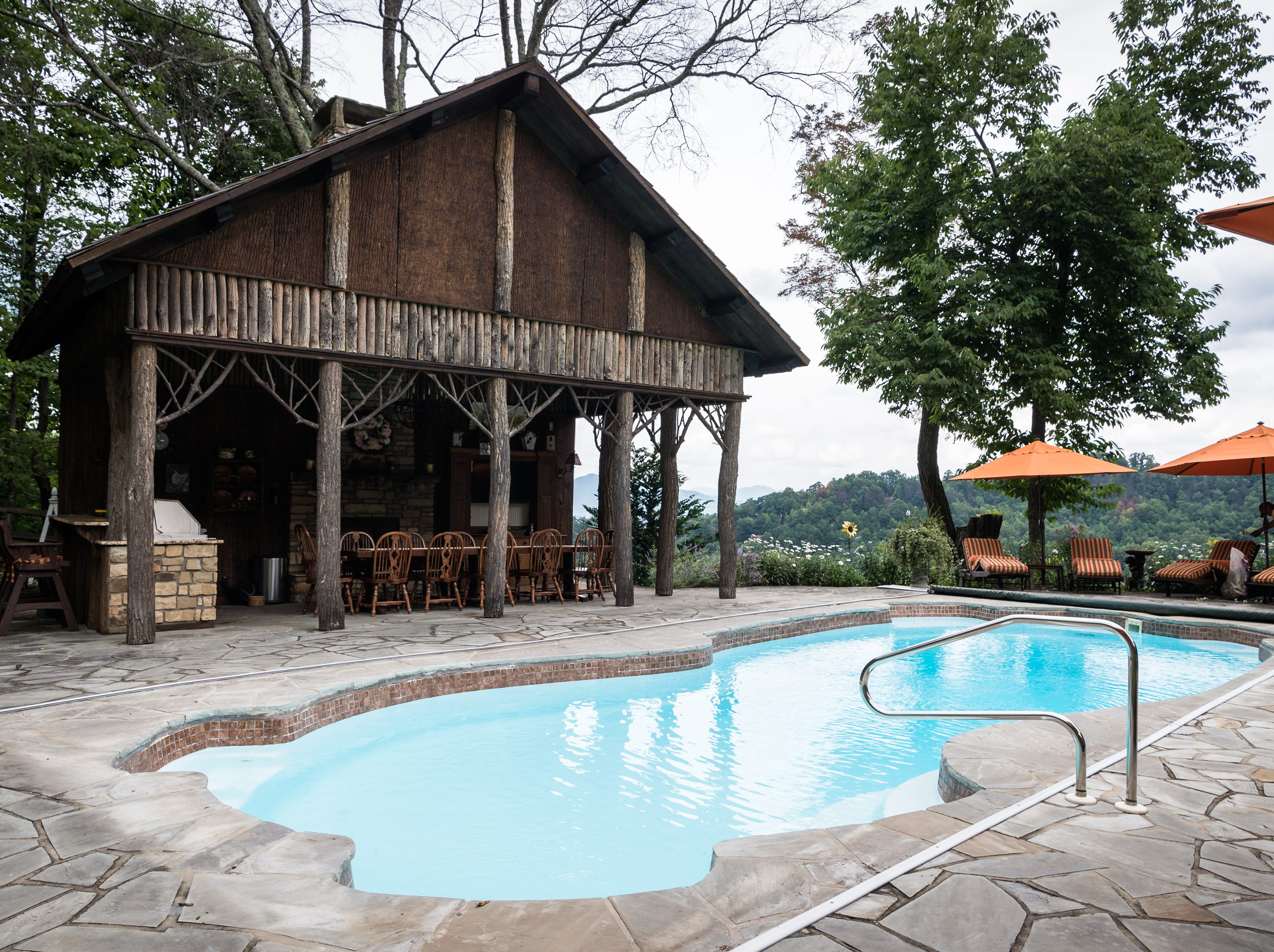 The pool area of Dan and Belle Fangmeyer's log cabin in Waynesville.