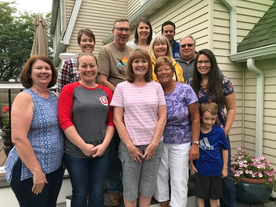 The Sees and Lumsden extended family at Debbie Zeitz's Johnson City home after meeting their newly-discovered sister, Nancy, and her daughter, Denise.