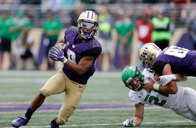 Washington running back Myles Gaskin averaged only 3.5 yards per carry against North Dakota on Saturday. Up next for Gaskin and the Huskies is a much more formidable Utah defense.