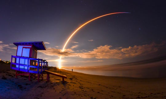 As seen from Cocoa Beach: A SpaceX Falcon 9 rocket launches from Cape Canaveral Air Force Station's Launch Complex 40 with the Telstar 18 VANTAGE communications satellite on Monday, Sept. 10, 2018.