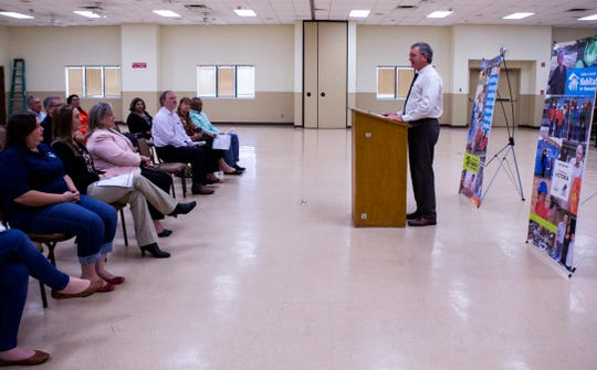 Refugio County Judge Robert Blaschke speaks about the program to provide for major repairs for homes damaged by Hurricane Harvey within Refugio County during a press conference at the Refugio County Community Center on Monday, September 10, 2018. The program is a partnership between Golden Crescent Habitat for Humanity, Rebuild Texas Fund, the American Red Cross and Refugio County.