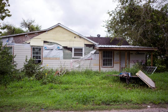 This is one of many homes in Refugio that was damaged during Hurricane Harvey over a year ago. A program to provide for major repairs for homes damaged by Hurricane Harvey within Refugio County was announced during a press conference at the Refugio County Community Center on Monday, September 10, 2018. The program is a partnership between Golden Crescent Habitat for Humanity, Rebuild Texas Fund, the American Red Cross and Refugio County.