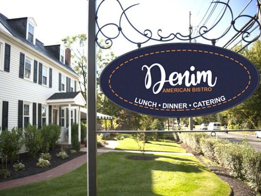 A rendering shows the former Farmhouse restaurant with a sign for the new Denim American Bistro. Denim is expected to open in early October at the Cherry Hill site, which once housed La Campagne.