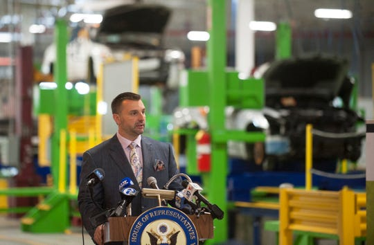 EMR Eastern LLC CEO Joe Balzano Jr. speaks during a press conference held at the EMR Eastern plant in South Camden on Monday, September 10, 2018.  EMR Eastern LLC CEO Joe Balzano Jr. is looking to hire as many as 275 new employees for his plant in South Camden.