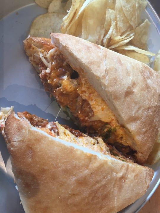 The brisket sandwich with pimento cheese at Alto Pizza in Covington