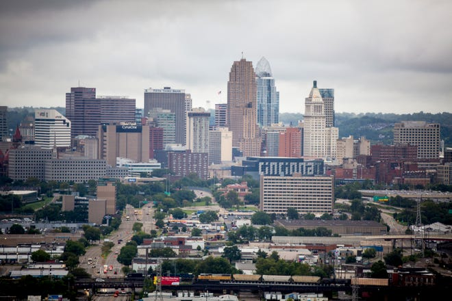 The city of Cincinnati wakes to a cloudy morning Monday, September 10, 2018