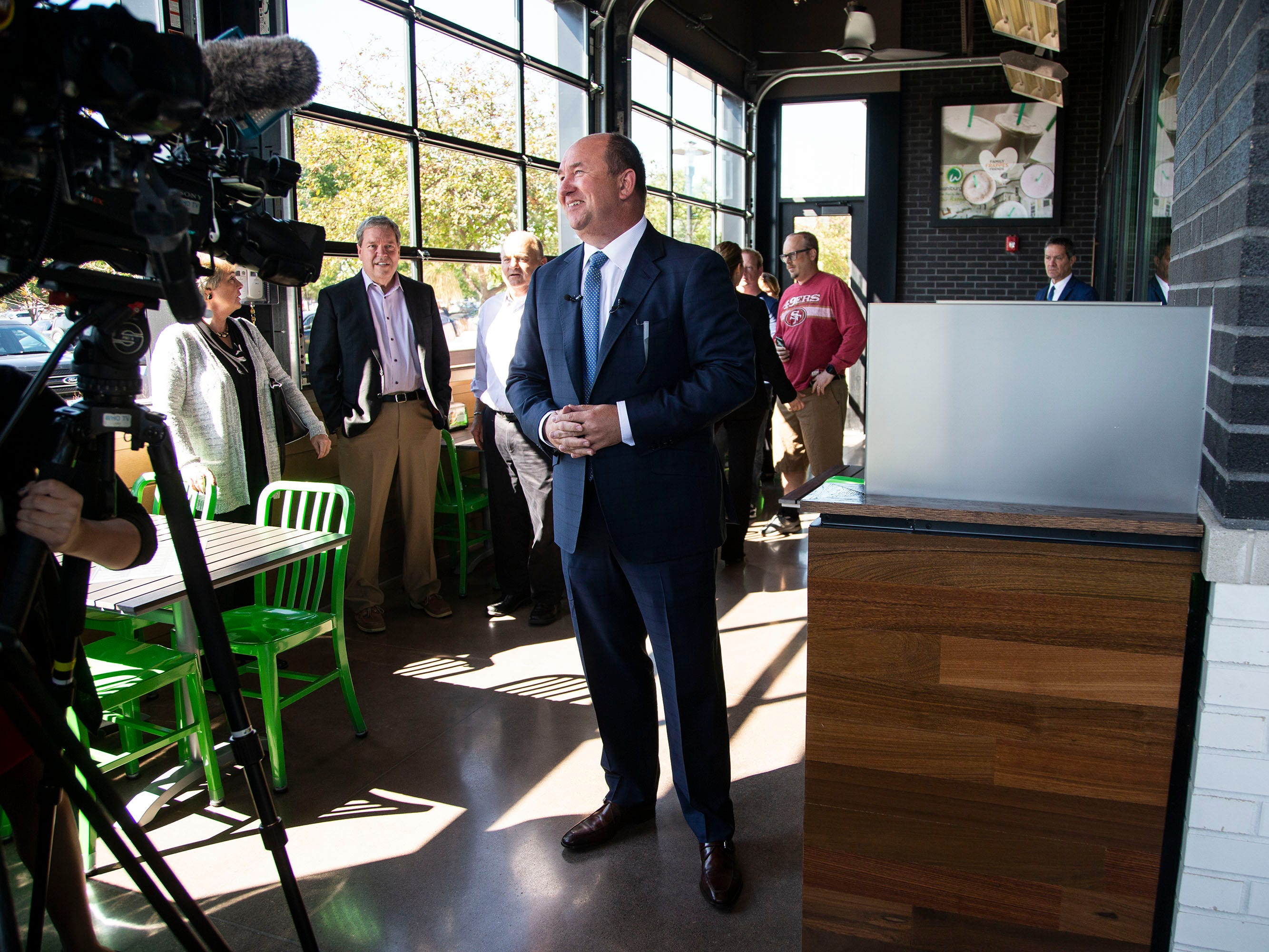 Randy Edeker, CEO of Hy-Vee talks to the media during a preview event at Iowa's first Wahlburgers location, opening this week, on Monday, Sept. 10, 2018, in the Jordan Creek Town Center in West Des Moines. This is Hy-Vee's second Wahlburgers location, the first opened in the Mall of America earlier this year.