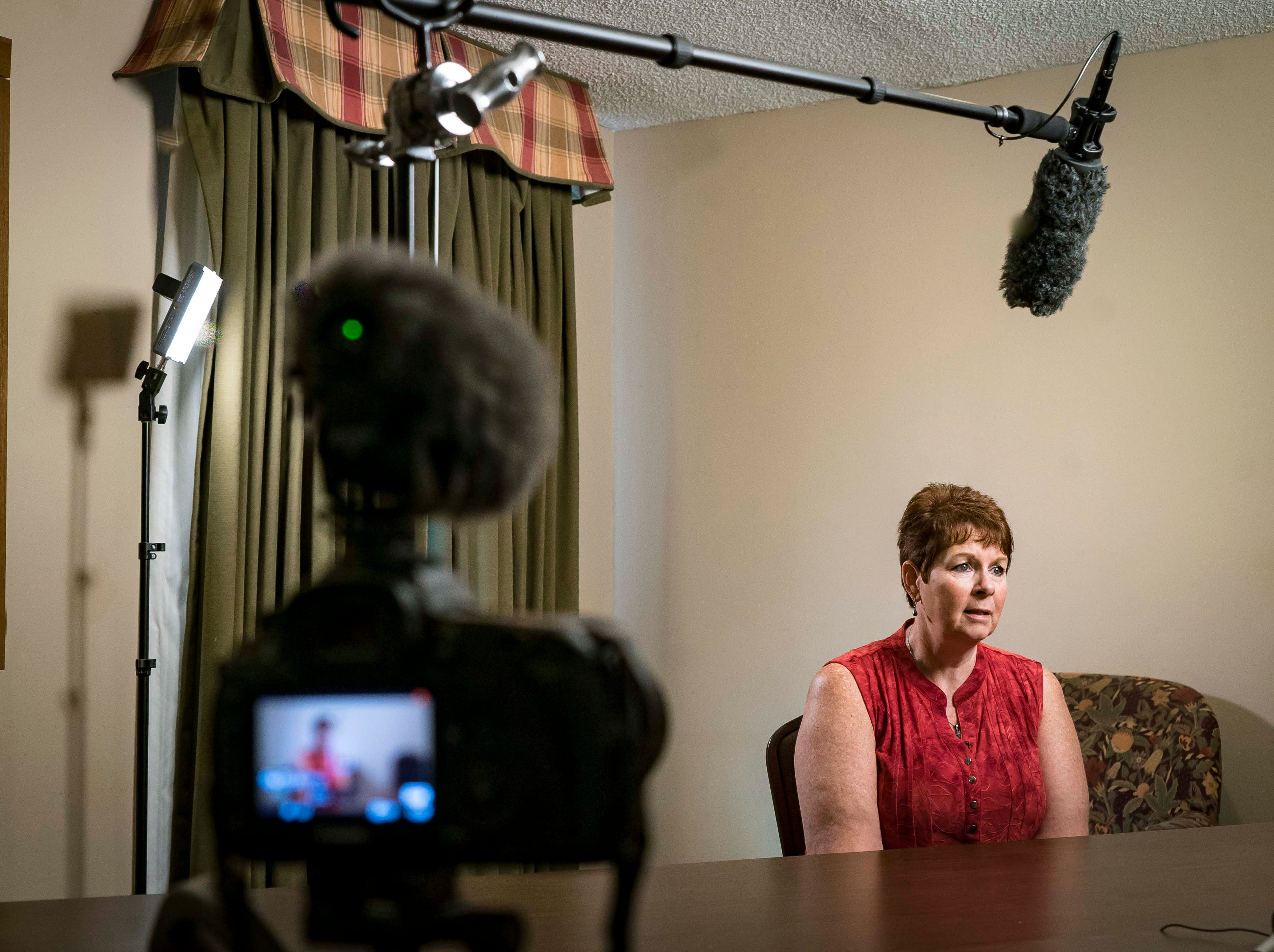 "Connie Hoye of Kansas City, being interviewed about her father A.W. ""Dub"" Barron during a family reunion in Tyler, Texas, Sunday, Sept. 2, 2018."