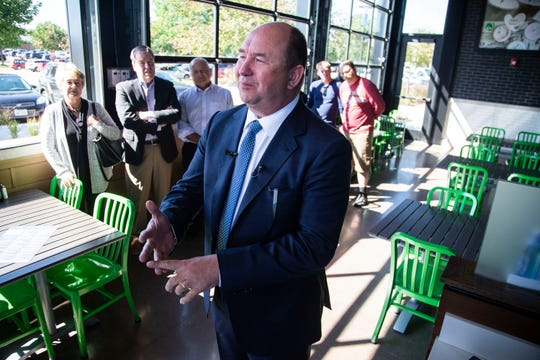 Randy Edeker, CEO of Hy-Vee, talks to the media Monday during a preview event at Iowa's first Wahlburgers location, which opens Tuesday at the Jordan Creek Town Center in West Des Moines.