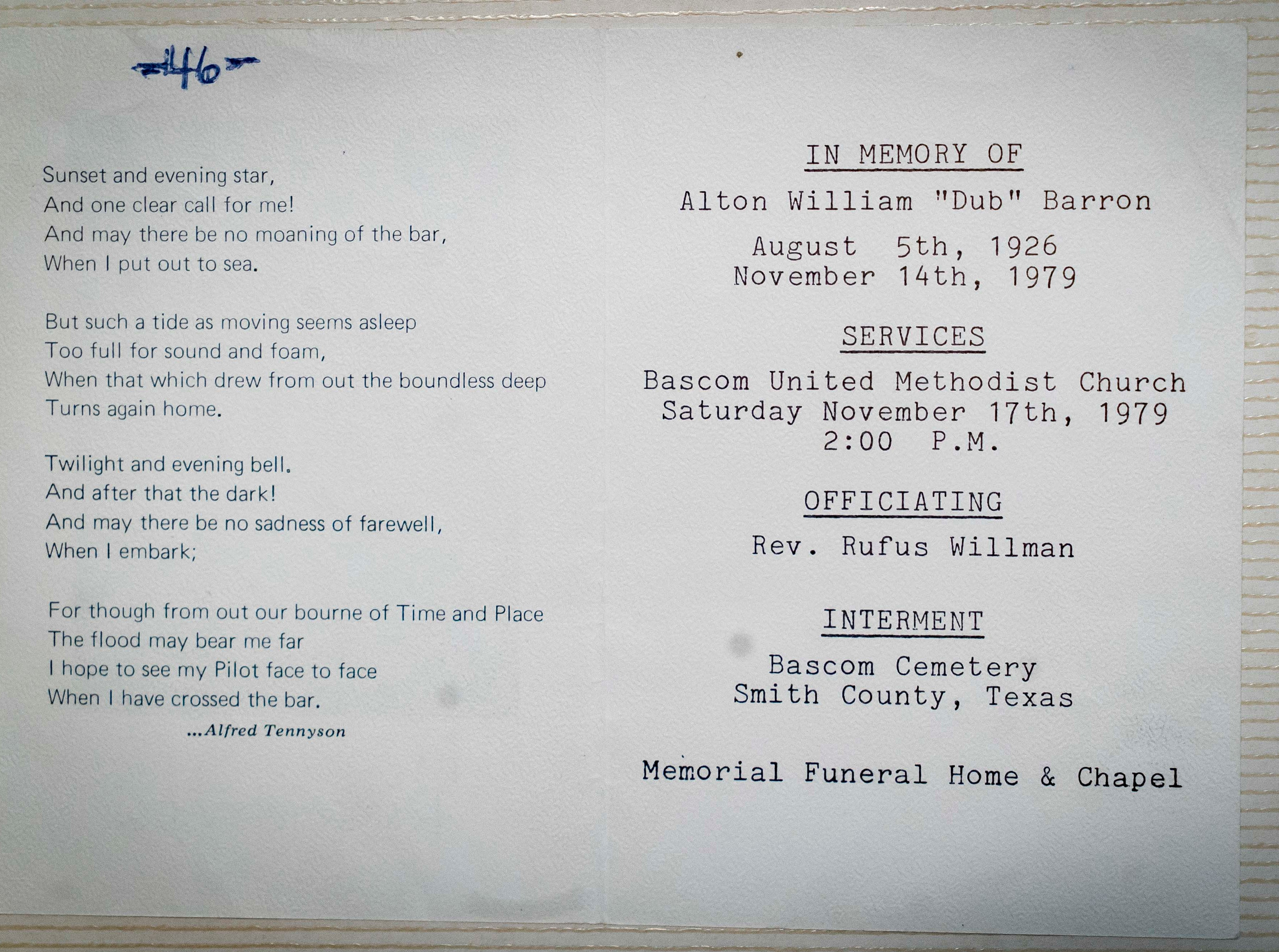 "A.W. ""Dub"" Barron memorial service flyer from his Tyler, Texas, funeral after he was killed in Sandpoint, Idaho, on Nov. 14, 1979."