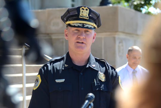 Des Moines Police Chief Dana Wingert talks with reporters Monday, Sept. 10, 2018, outside the police department about its newly installed gun-tracing equipment.